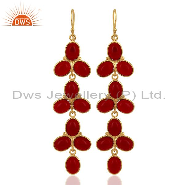 Red Hydro flower Pattern Bezel 14K Gold Plated Fashion Wholesale Jewelry
