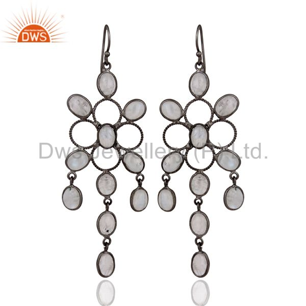 Artisan Crafted Natural Rainbow Moonstone Earrings With Black Rhodium Plated