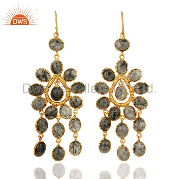 Natural Tourmalinated Quartz Gemstone Earrings With 24k Yellow Gold Plated