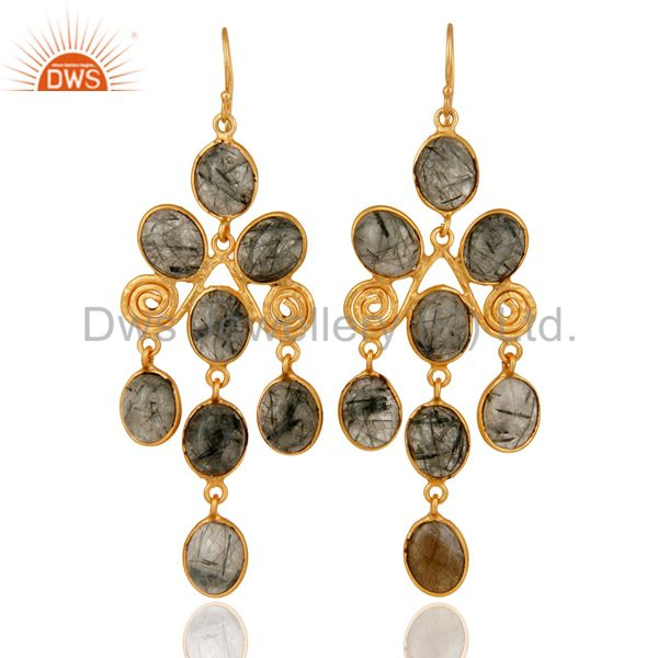 22K Yellow Gold Plated Over Brass Tourmalated Quartz Gemstone Handmade Earrings