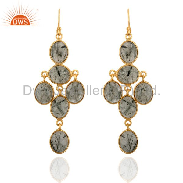 Natural Tourmalated Quartz Gemstone Artisan Crafted Dangle Party Wear Earrings