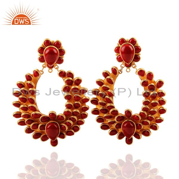 Handmade Synthetic Red Coral Gemstone Gold Plated Brass Earrings