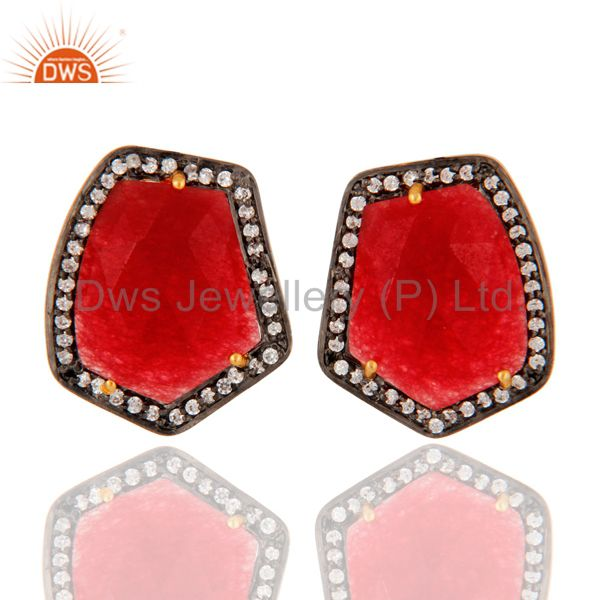 Natural Red Aventurine Gemstone 925 Sterling Silver Stud Earrings With Zircon