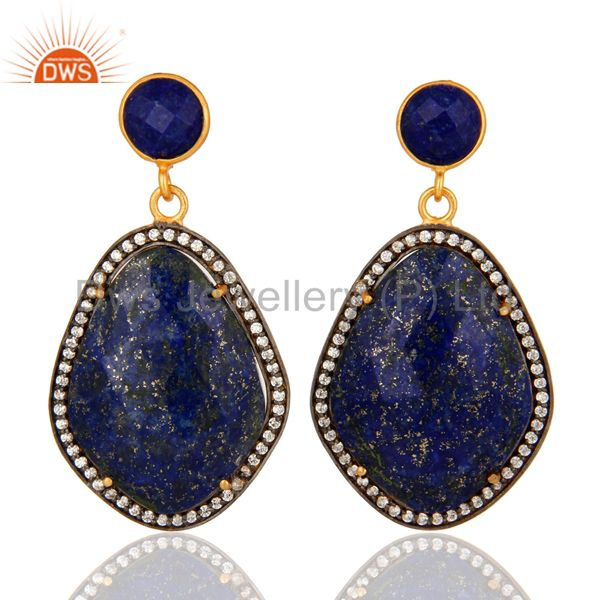 Natural Lapis Lazuli Gemstone And Cubic Zirconia Drop Earrings - Gold Plated