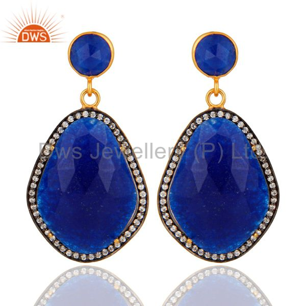 Pave CZ & Blue Aventurine Gemstone Beautiful Designer Earrings With Gold Plated
