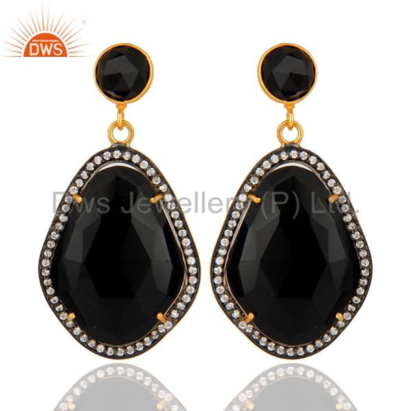 Natural Black Onyx And CZ Drop Earrings in 18K Yellow Gold Plated Over Brass