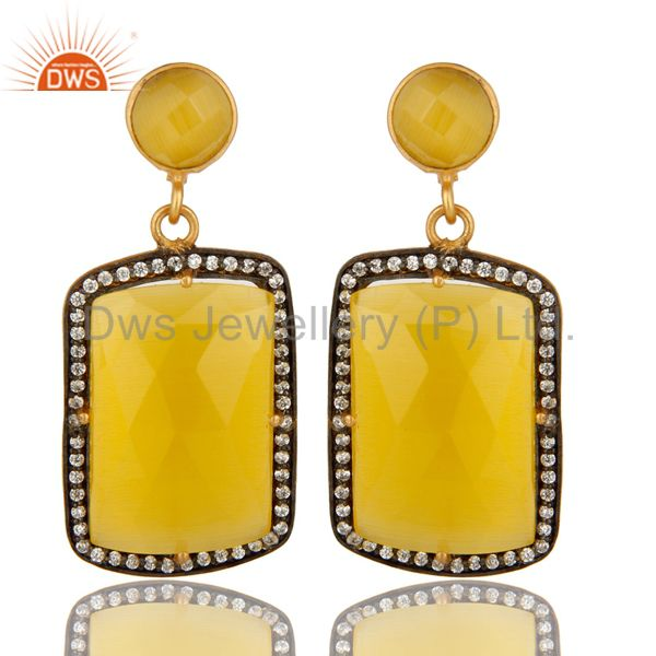 18K Yellow Gold Plated Yellow Moonstone Prong Set Dangle Earrings With CZ