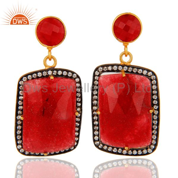 Handmade Red Aventurine Gemstone Earrings Made In 18K Gold Over Brass