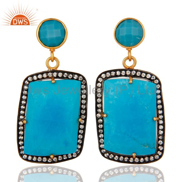 Turquoise Gemstone Prong Setting 18K Gold Plated Dangle Earrings With Zircon
