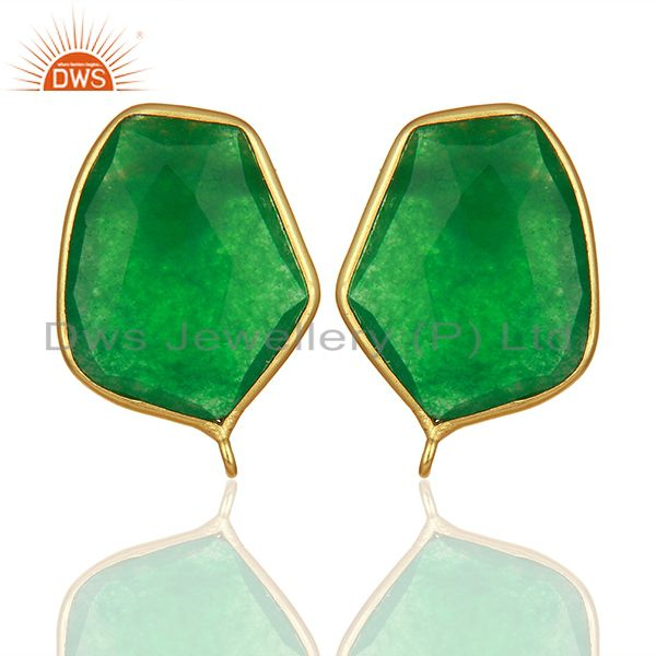 18K Yellow Gold Plated Natural Green Aventurine Stud Earring Jewelry Assesories