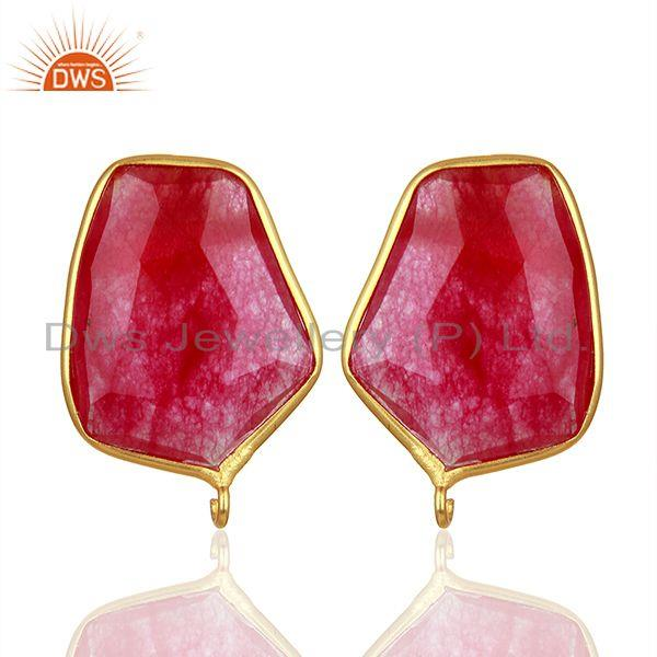92.5 Silver Yellow Gold Plated Red Aventurine Gemstone Stud Earring Findings