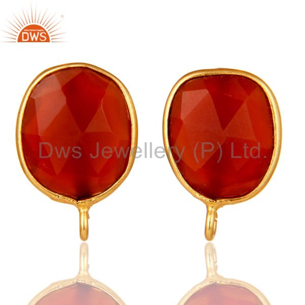 18K Yellow Gold Plated Red Onyx Stud Earring Jewelry Assesories Findings