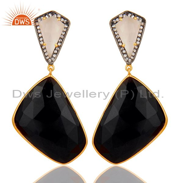 Moonstone Black Onyx and White CZ 18K Gold Plated Dangler Drop Earring