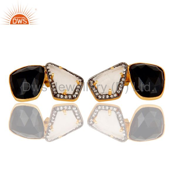 Moonstone Black Onyx and White CZ 18K Gold Plated Stud Earring Jewellery
