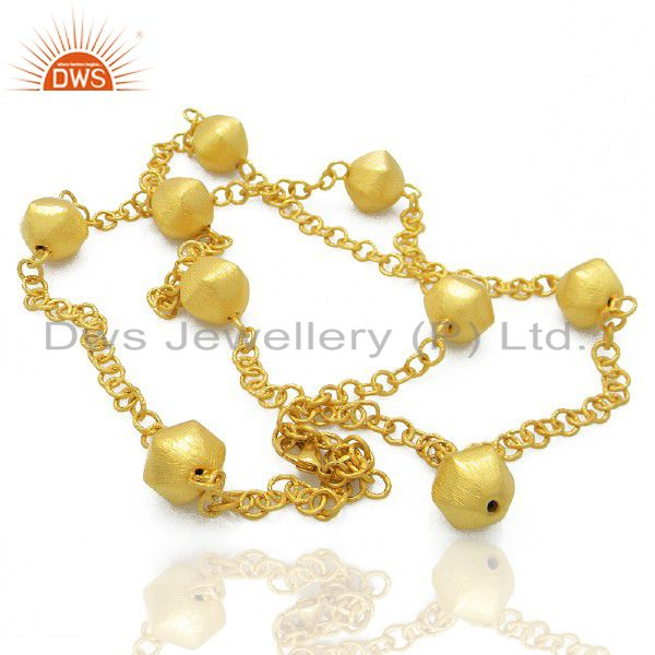 22K Yellow Gold Plated Brass Matte Finish Link Chain Womens Fashion Necklace