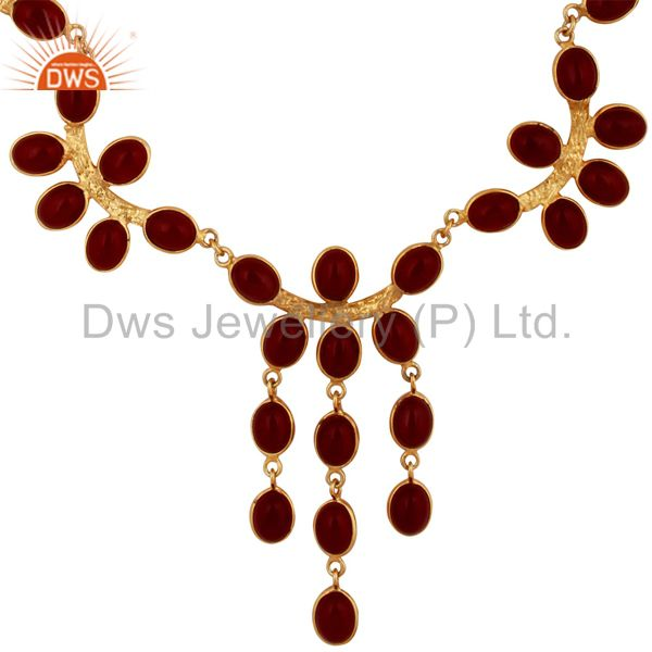 Bib-Style Necklace with RED Glass Gemstone Brass Hand crafted 18K Gold Plated J