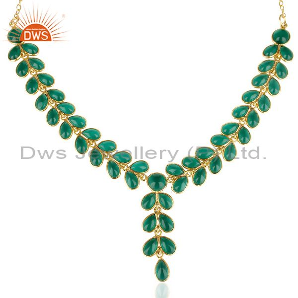 14K Gold Plated Traditional Handmade Hydro Emerald Bezel Set Fasshion Necklace