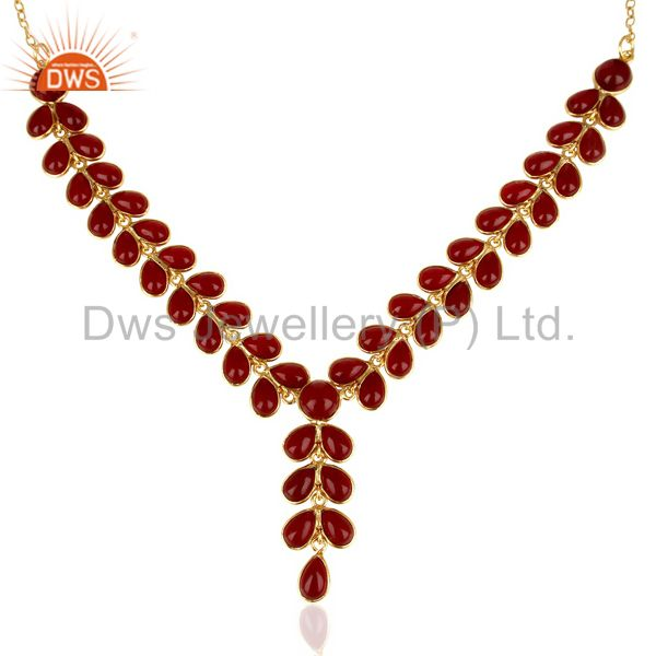Hydro Red Quartz Bezel Set 14K Yellow Gold Plated Chain Necklace Brass Jewelry