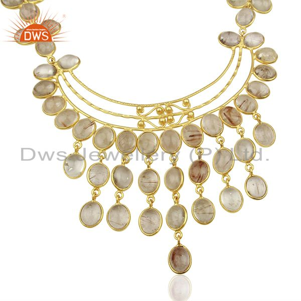 Matte Finish Gold Plated Handcrafted Rutile Quartz Spiral Wire Necklace Jewelry