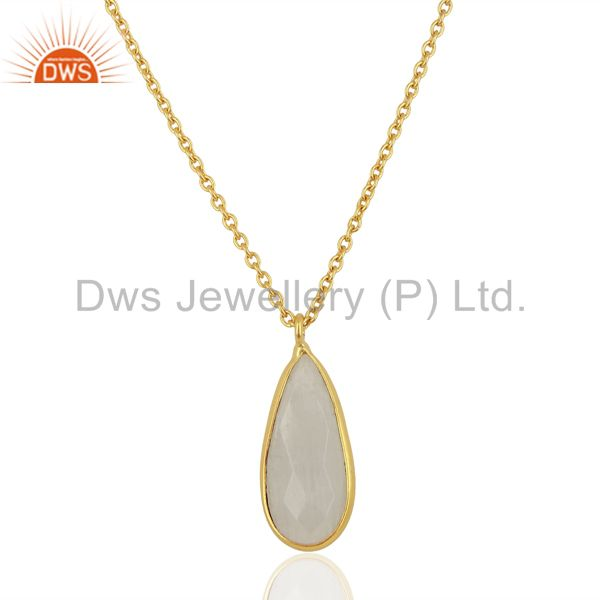 Rainbow Moonstone 18K Yellow Gold Plated Brass Chain Pendant Necklace Jewelry
