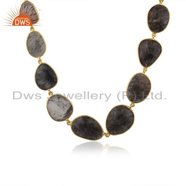 Black Rutile Beaded Gemstone Wholesale Brass Fashion Necklace Jewelry