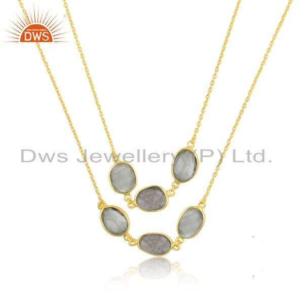 Multi Gemstone Gold Plated Brass Fashion Necklace Manufacturer India