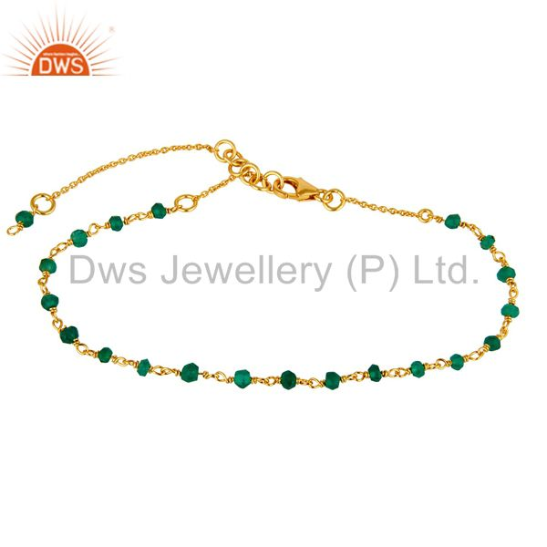 22K Yellow Gold Plated Sterling Silver Green Onyx Gemstone Beaded Chain Bracelet