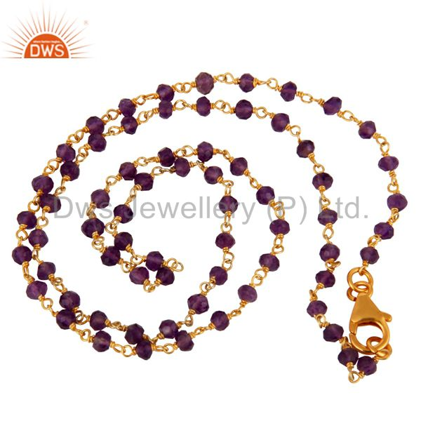 """Natural Amethyst Faceted Beaded Gold Plated Sterling Silver Chain Necklace 21"""""""