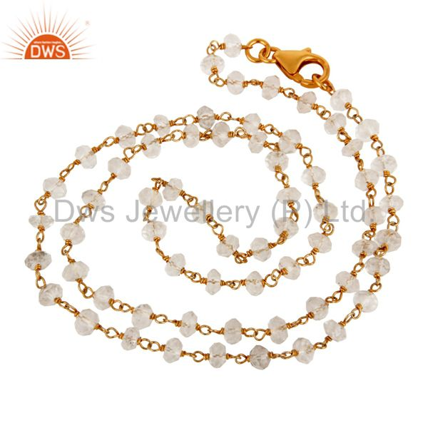 925 Sterling Silver Natural Crystal Quartz Beads Necklace With 24K Gold Plated