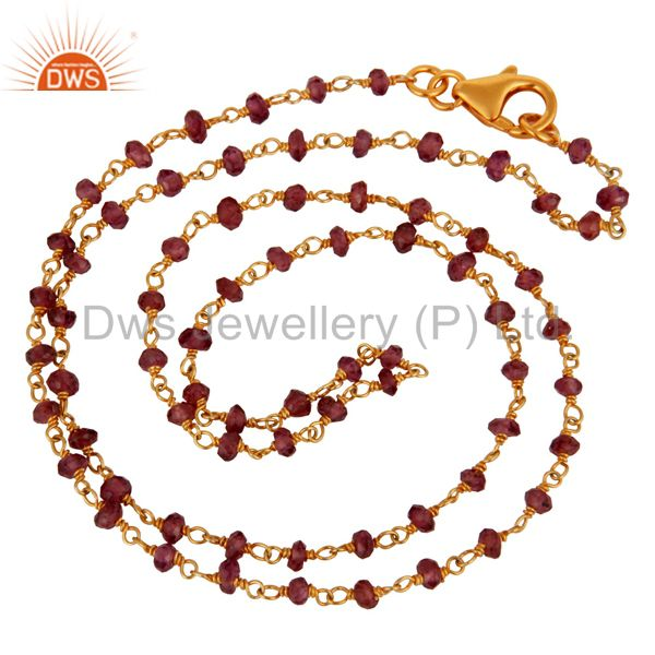Handmade 925 Sterling Silver Garnet Gemstone Beads Necklace With Gold Plated
