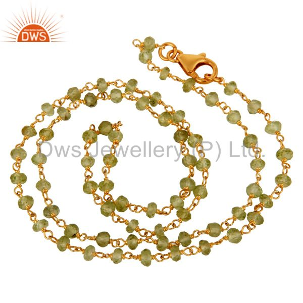 Natural Peridot Gemstone Beads Necklace Made In 18K Gold Over Sterling Silver