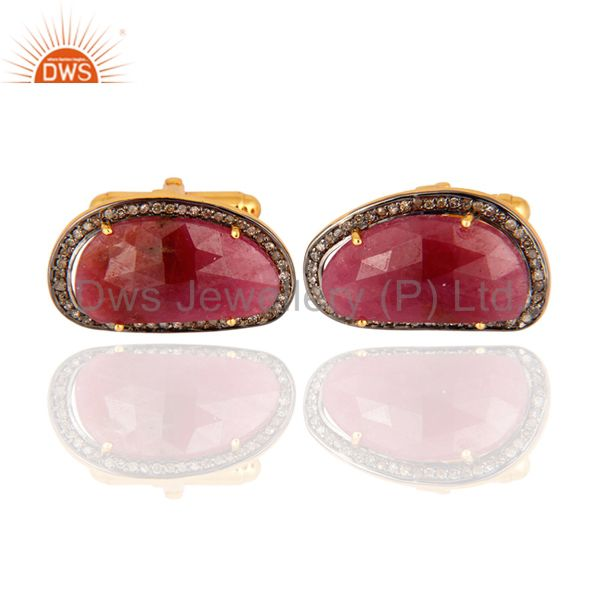 Gold Plated Sterling Silver Ruby Gemstone Pave Diamond High Fashion Cufflinks
