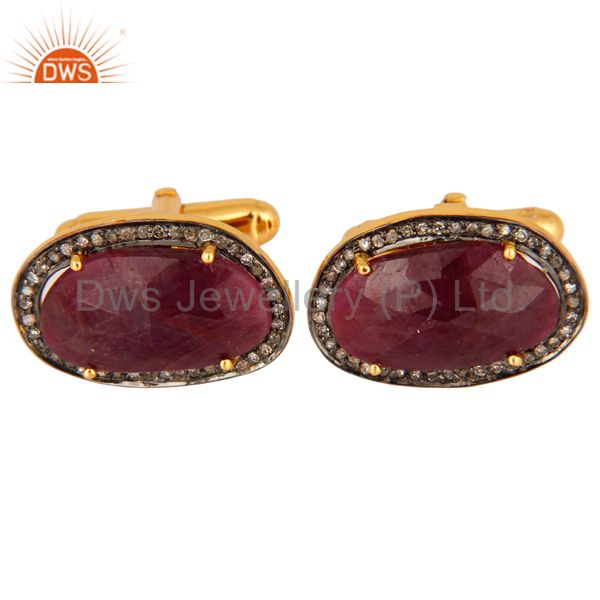 Victorian Style Pave Set Diamond Mens Ruby Cufflinks In 18K Gold Over Silver