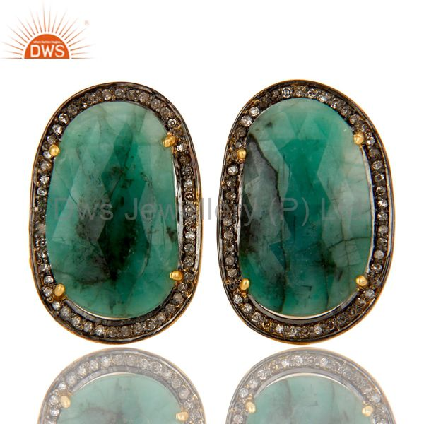 18K Yellow Gold Sterling Silver Emerald And Pave Diamond Mens Cufflinks