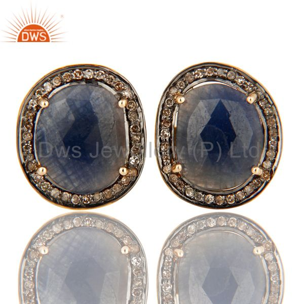 14K Yellow Gold And Sterling Silver Pave Set Diamond Blue Sapphire Cufflinks