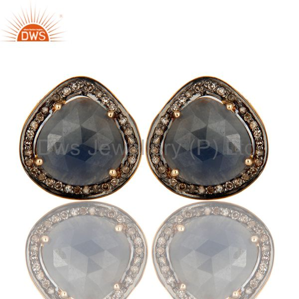 14K Yellow Gold And Sterling Silver Pave Diamond Blue Sapphire Cufflinks Jewelry
