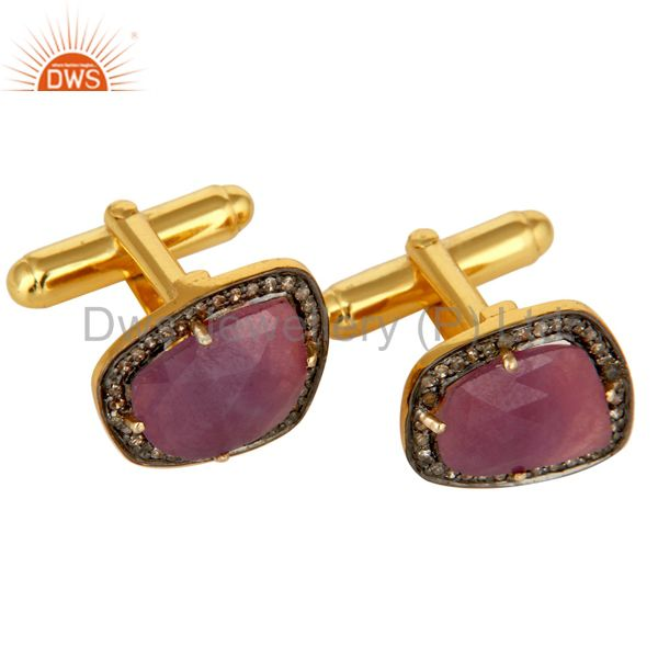 Natural Ruby And Pave Set Diamond Cufflinks Made In Solid 14K Yellow Gold