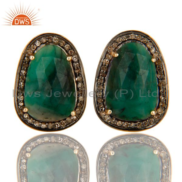 Natural Emerald And Pave Diamond 14K Yellow Gold And Sterling Silver Cufflinks