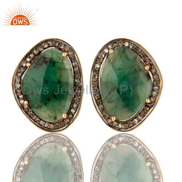Faceted Emerald Pave Diamond 14K Solid Gold And Sterling Silver Cufflinks