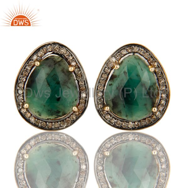 Natural Emerald 14K Solid Yellow Gold And Sterling Silver Pave Diamond Cufflinks