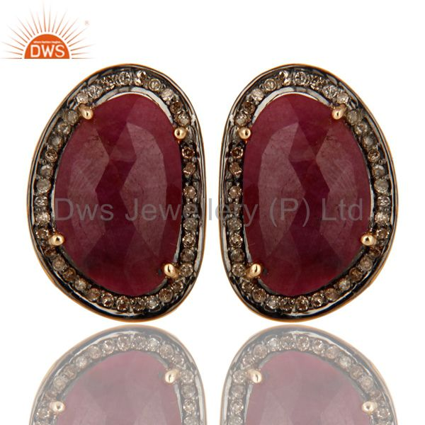 14K Yellow Gold And Sterling Silver Pave Diamond Natural Ruby Mens Cufflinks