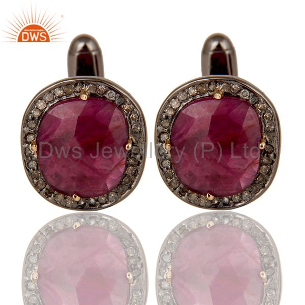 Natural Ruby and Pave Diamond Black Oxidized Sterling Silver Cufflink