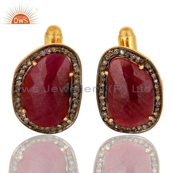 14K Solid Yellow Gold Pave Set Diamond And Ruby Gemstone Mens Cufflinks