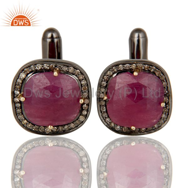 14K Solid Yellow Gold Pave Set Diamond And Ruby Sterling Silver Mens Cufflinks