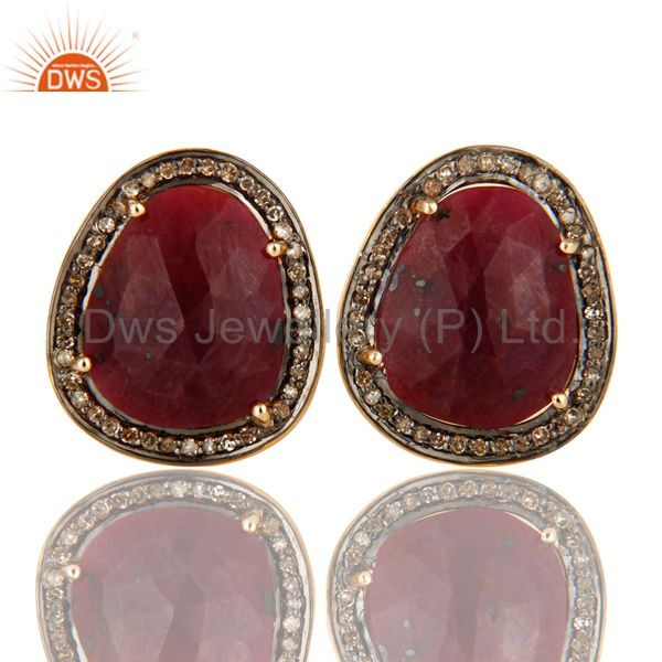 Genuine Ruby And Pave Diamond 14K Yellow Gold And Sterling Silver Cufflinks