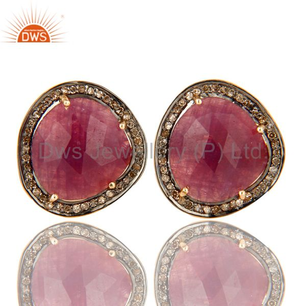 18K Gold Over Sterling Silver Pave Set Diamond And Ruby Gemstone Cufflinks