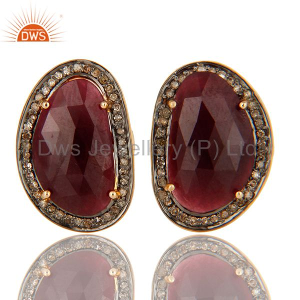 Ruby And Pave Diamond 925 Sterling Silver And 14k Yellow Gold Cufflinks