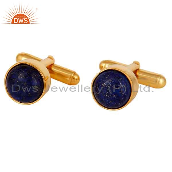 Lapis Cuff Link Wholesale 14 K Gold Plated Sterling Silver Jewelry