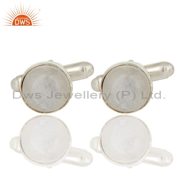 Rainbow Moonstone Solid 925 Sterling Silver Mens Fashion Cuff Links Jewellery
