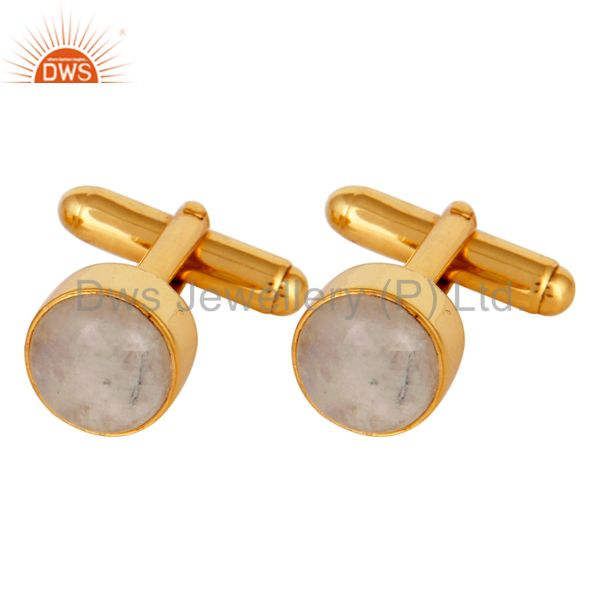 Rainbow Moonstone 925 Sterling Silver Mens Fashion Cuff Links With Gold Plated